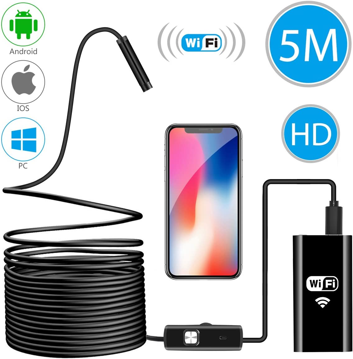 Upgrade IP68 Waterproof Wireless Inspection Camera with Light Windows 11.5FT iPhone Samsung MAC 1200P HD Semi-rigid Snake Borescope for Android and IOS Wireless Endoscope Camera Laptop