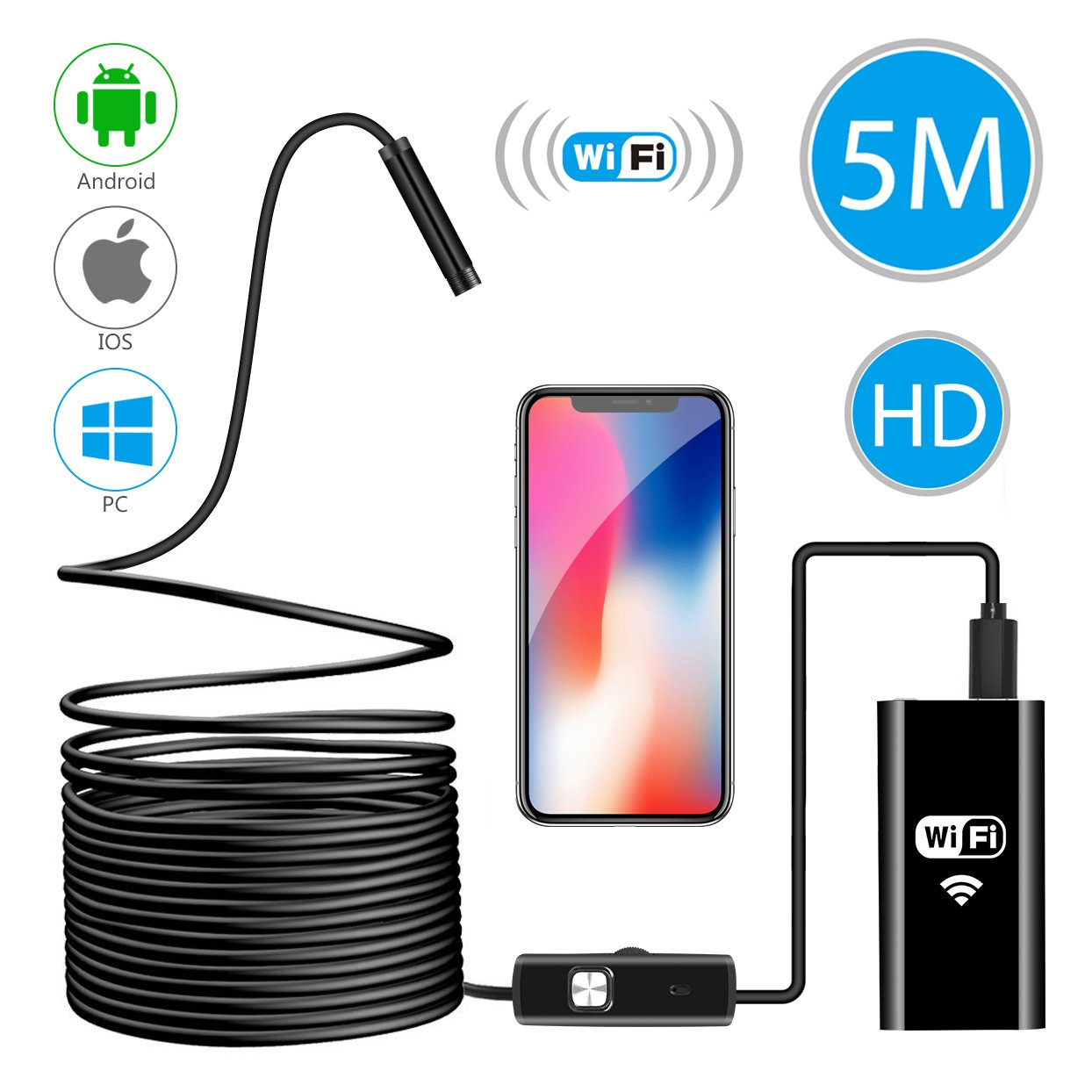 Wireless Endoscope, WiFi Borescope Inspection Camera 2 in 1 2.0 Megapixels HD Waterproof Snake Camera Pipe Drain with 8 Adjustable Led for Android & IOS Smartphone IPhone Samsung Tablet-16.4 ft (5M) Hydream
