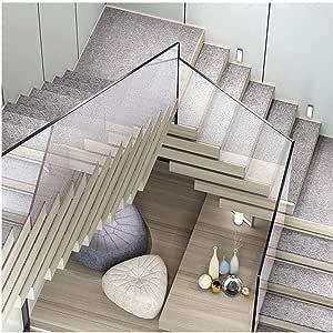 Carpet Stair Alfombras para escaleras, 15 Conjunto de Escalera de ratón Paso de alfombras Antideslizantes en Adhesivo Manta/Estera de Huella de peldaño, 75 * 26 * 3cm,Grey-L: Amazon.es: Hogar