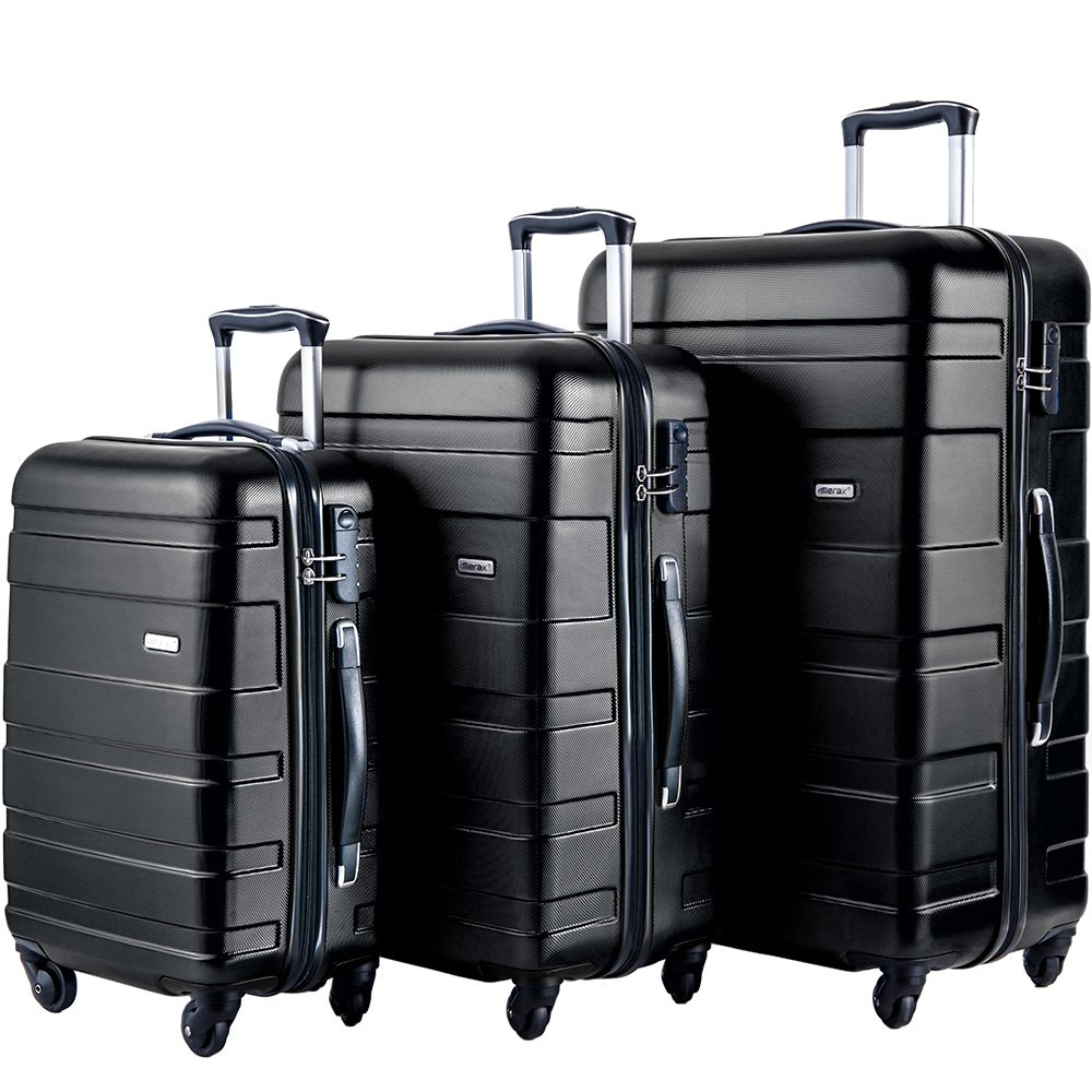 Merax MT Imagine Luggage Set 3 Piece Spinner Suitcase 20 24 28inch (Black) by Merax