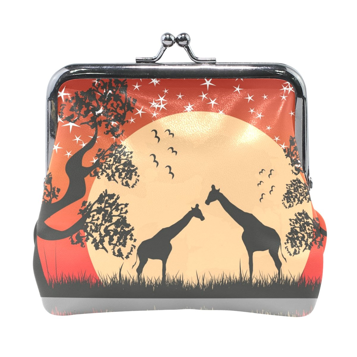 Sunlome Sunset Giragges Bird Tree PU Leather Wallet Card Holder Ladies Clasp Clutch Purse