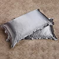 Magideal 2x Silky Soft Satin Standard Pillow Cushion Cover Pillowcase Bed Decor-Gray