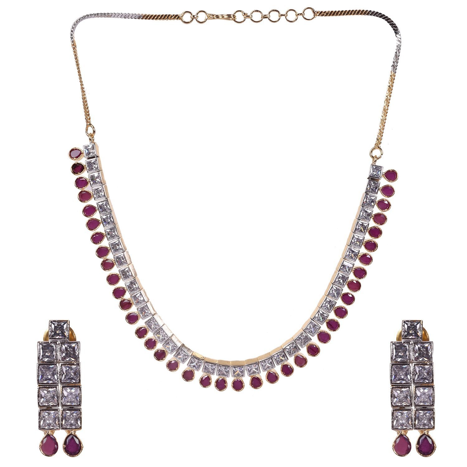 Ratnavali Jewels Cubic Zirconia Gold Plated Designer Necklace Set (RV476)