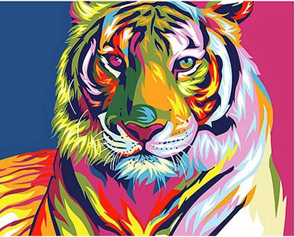 Zy Zq Malen Nach Zahlen Kits Bunte Tiger Tiere Diy Malerei Durch Zahlen Kits Malen Auf Leinwand Hand Gemalt öl Farbe Für Home Wand Decor 40x50 Amazon De