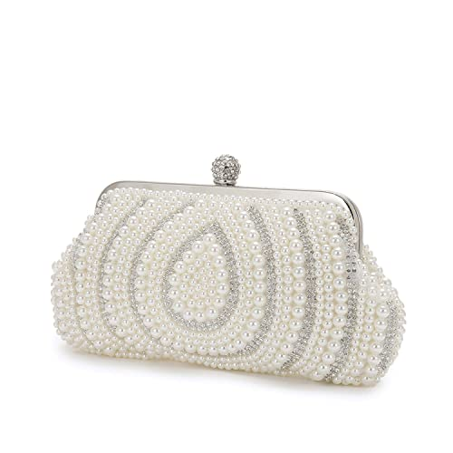 Evening bag white Luxury Rhinestone Pearl Beading Bags Water droplet Shaped  Evening Bag Cultch Purse