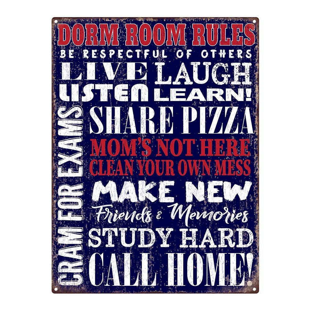 Outdoor Dorm Room Rules 12''x16'' Metal Sign, College, Apartment Décor, Guaranteed Not to Fade for 4 Years