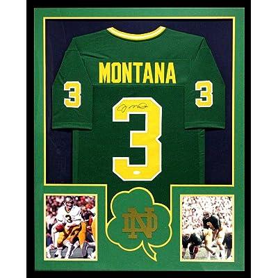 online retailer a7040 e5e48 Signed Joe Montana Jersey - Framed Green Custom ...