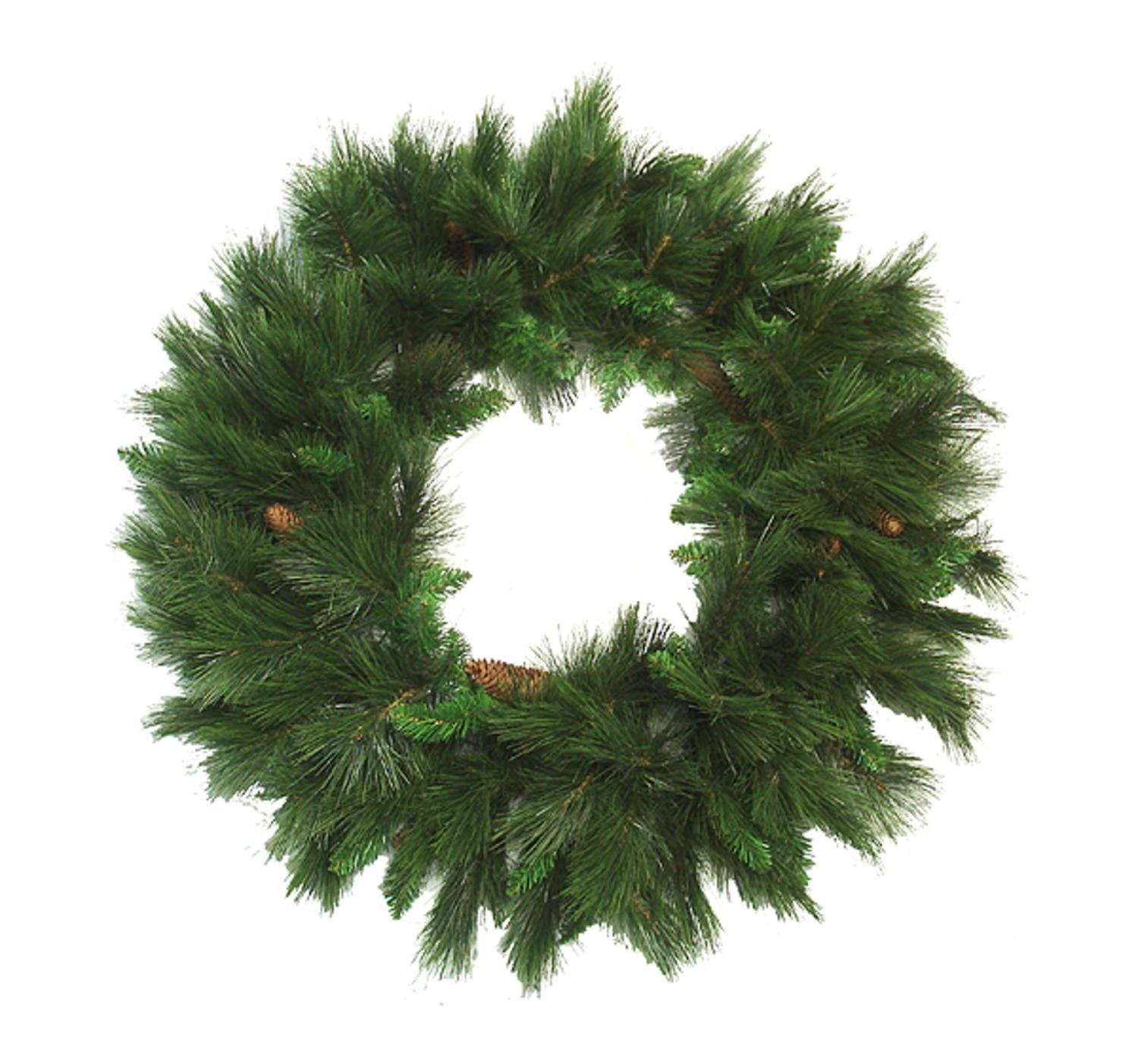 48'' Mixed Long Needle Pine Artificial Christmas Wreath with Pine Cones - Unlit