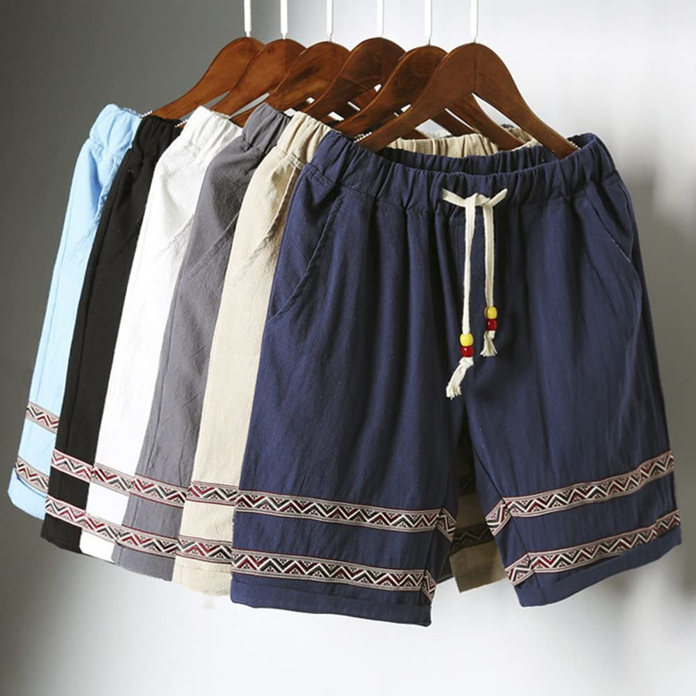 Zhuhaitf Summer Teens Retro Stripe Linen Shorts Beach Athletic Shorts For Men Boy