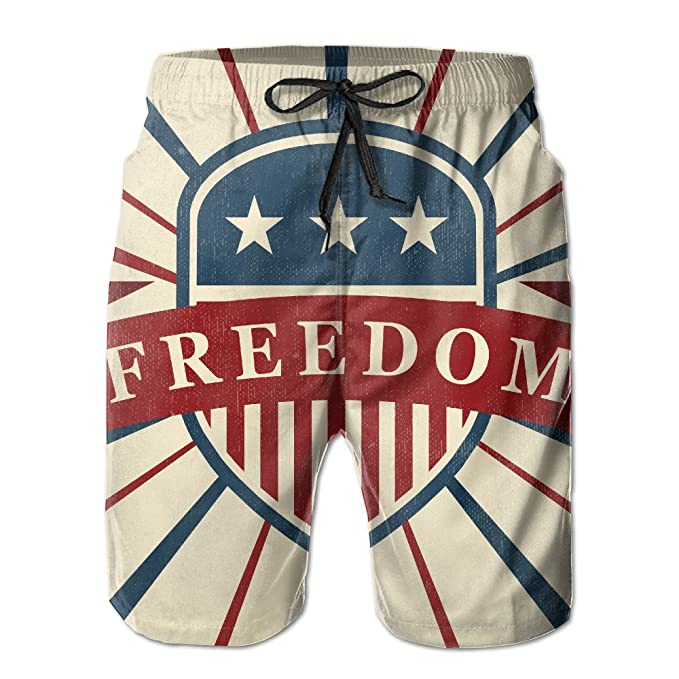15870c949d Men's Freedom Summer Print Swim Breathable Quick-drying Shorts Board ...