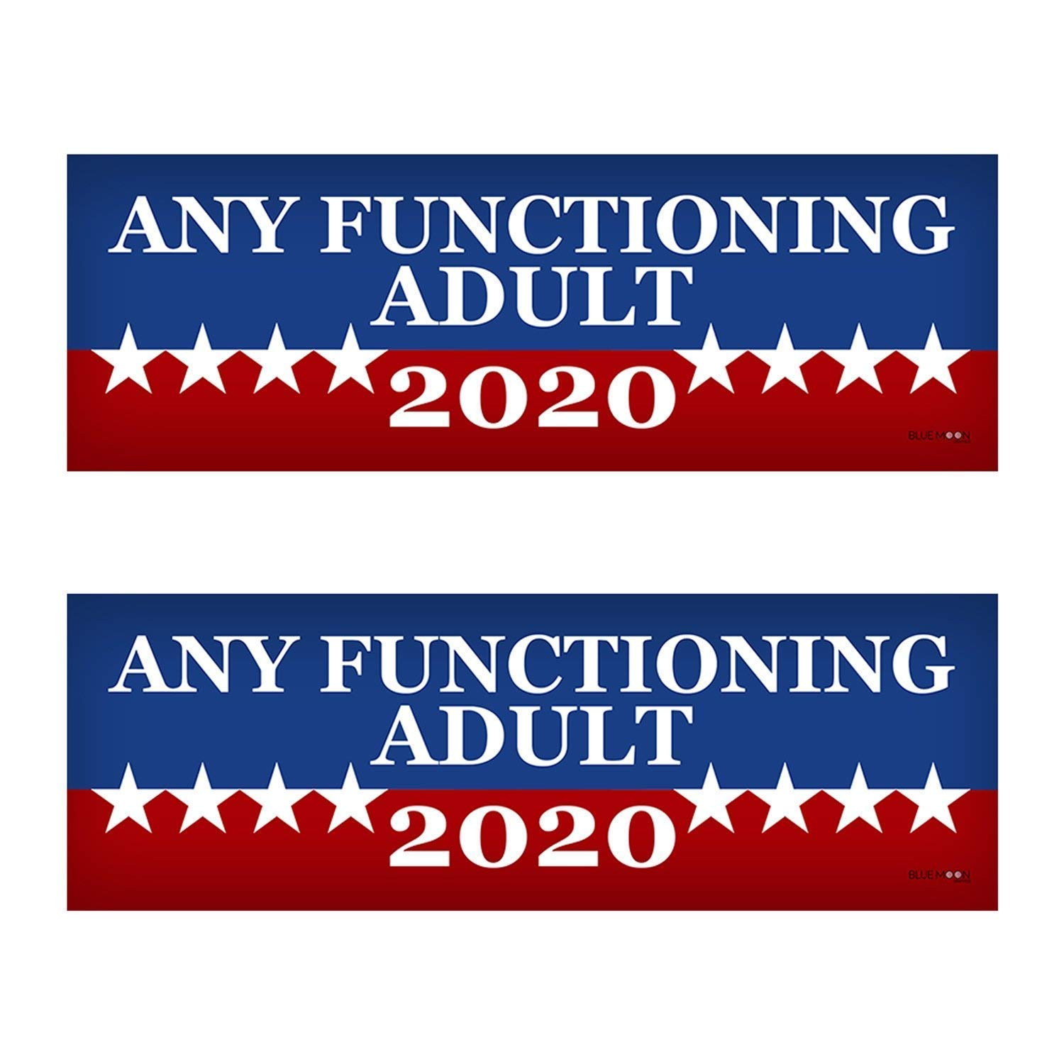 Any functioning adult 2020 funny bumper sticker 3 x 9 car truck vinyl decal political presidential election made in usa sports outdoors
