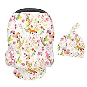 Stretchy Infant Carseat Cover with Soft Matching Baby Hat for Carseat Multi-use, Nursing, Versatile Breastfeeding Scarf, Stroller, Feeding High Chair Cover(Flowers and Fox)