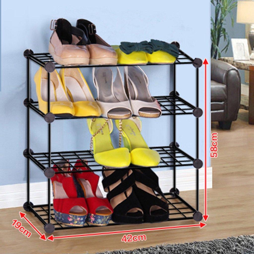 LQQGXL Shoe Rack Organizer Storage, Simple Combination Multi-Layer Shoe Rack, Removable dust Storage Organization, Iron Shoe, Bookshelf. (Size : 4-Tier)