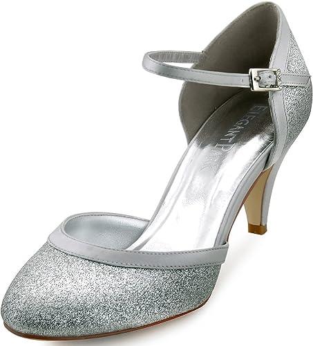 TALLA 39 EU. ElegantPark HC1510 Zapatos de Novia Tacon Alto Correas de Tobillo Cerradas Glitter Zapatos de Fiesta de Boda Mujer