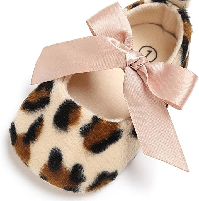 Leopard Princess Newborn Baby Girl High Heels Soft Sole Toddler Bow Crib Shoes