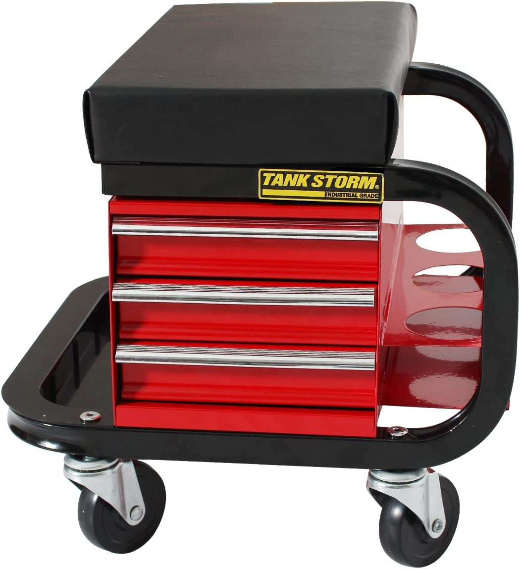 TANKSTORM Tool Box Built-In Creeper Seat, Garage Shop Roller Seat, 3 Drawers Heavy Duty Tool Chest With 4 Rolling Casters-350 Lbs Capacity: Automotive