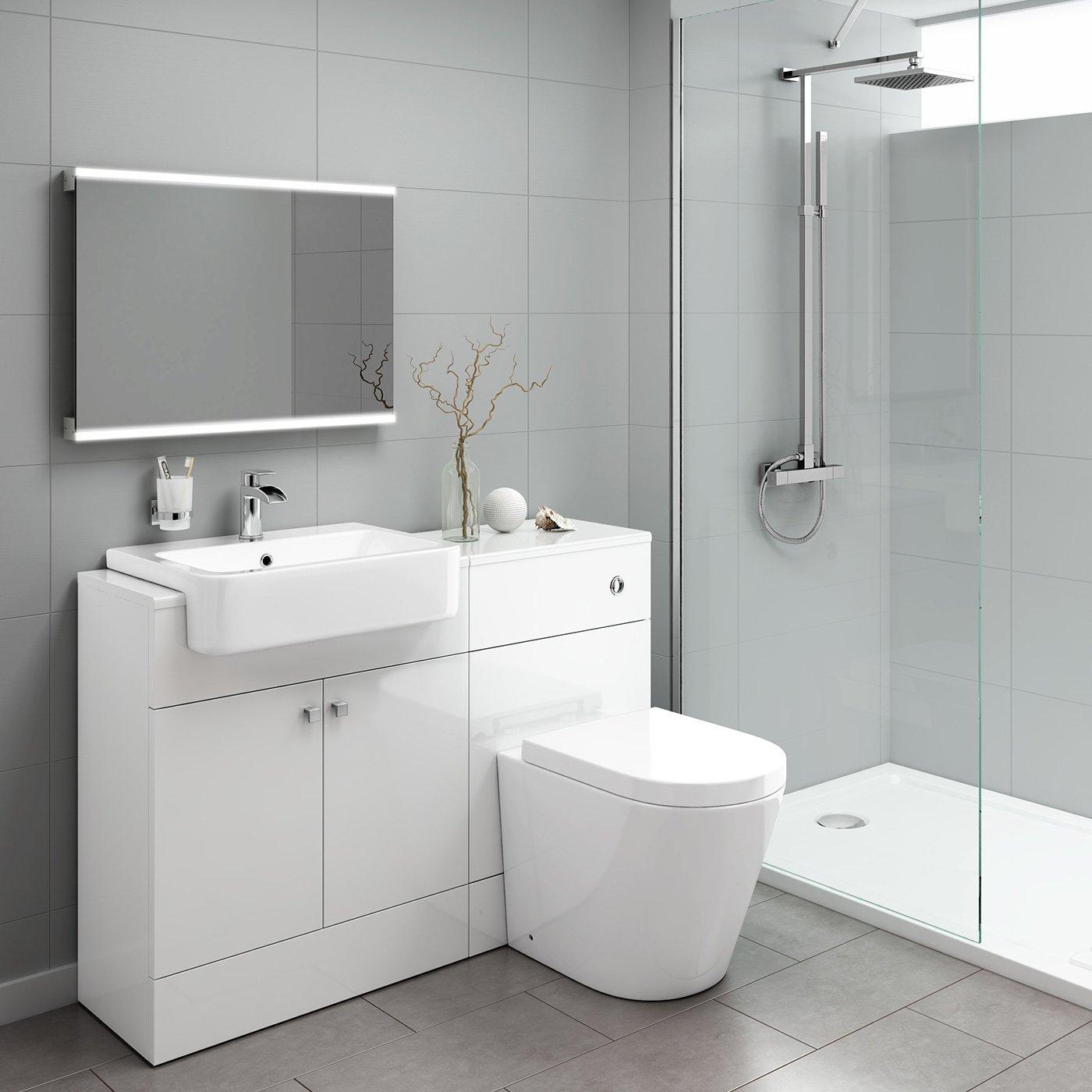 500 x 700 mm Modern Illuminated LED Bathroom Mirror with Bluetooth ...