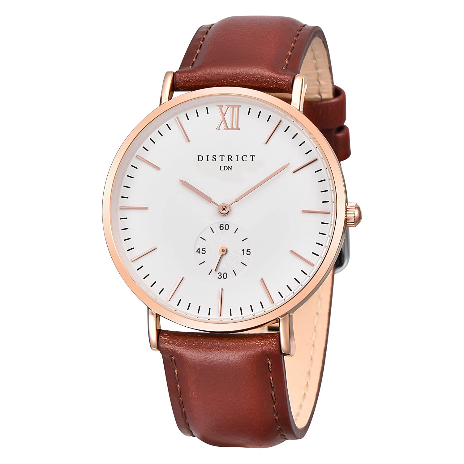 51085b6b5 ... Mens Watch - Slim Light Brown Leather Band Quartz Rose Gold Wrist Watch  Luxury Classic Simple Casual Design White Dial Watch - Business Fashion  Unisex ...