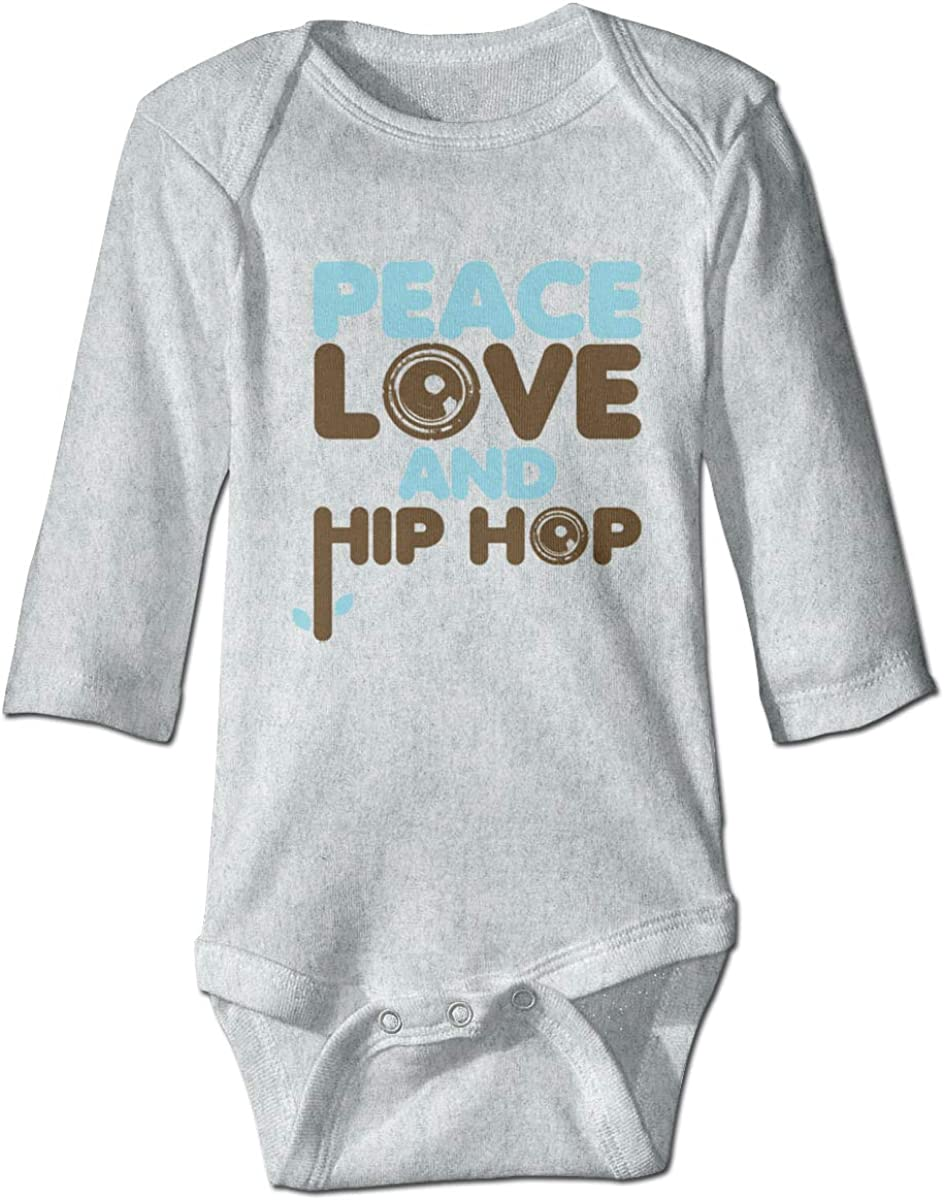 Marsherun Babys Girls and Boys Peace Love Hip Hop Long Sleeve Climbing Bodysuits Playsuits