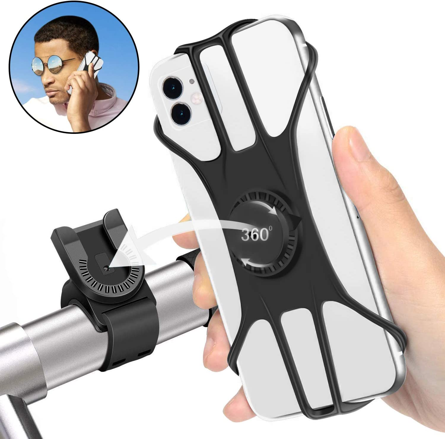 "Shinemefly Bike Phone Mount, 360°Rotation Silicone Bicycle Phone Mount, Universal Upgrade Bike Phone Holder Handlebar Compatible with iPhone 11 Pro Max/8/7/6 Plus, Samsung, Huawei 4.7""-7.5"" Phones"