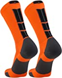TCK Elite Crew Socks (Neon Orange/Graphite/Black, Medium)