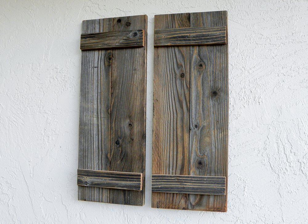 Rustic Reclaimed Wood Shutters (Set of 2). 30x11in by ABELO Design (Image #2)