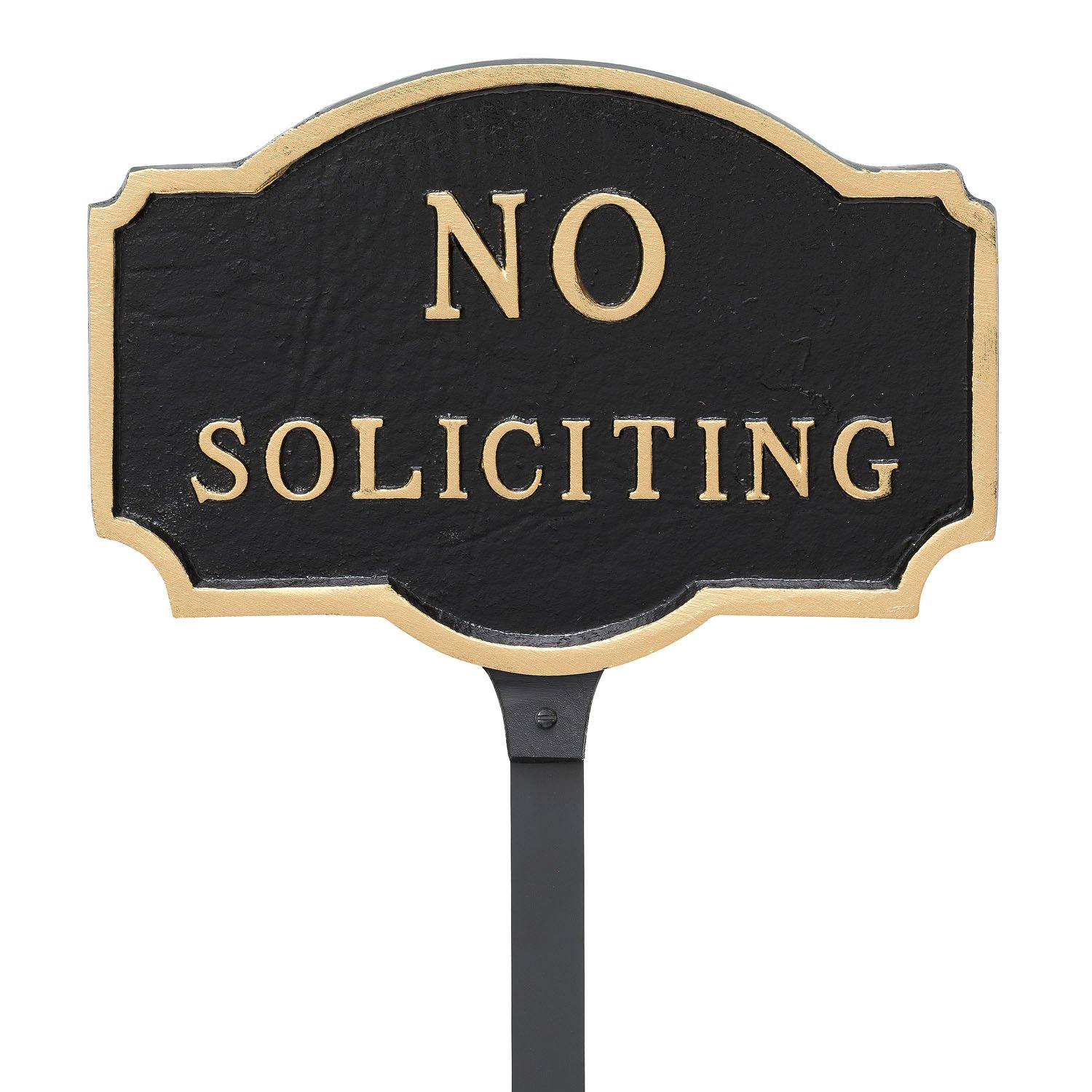 Montague Metal Products 4.5'' x 7.15'' Petite No Soliciting Statement Plaque with 23'' Stake, Black/Gold