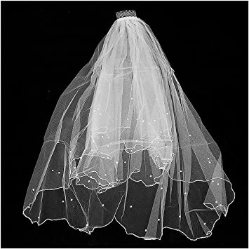 White and light ivory Wedding Bridal Veil fingertip with Lace Edge