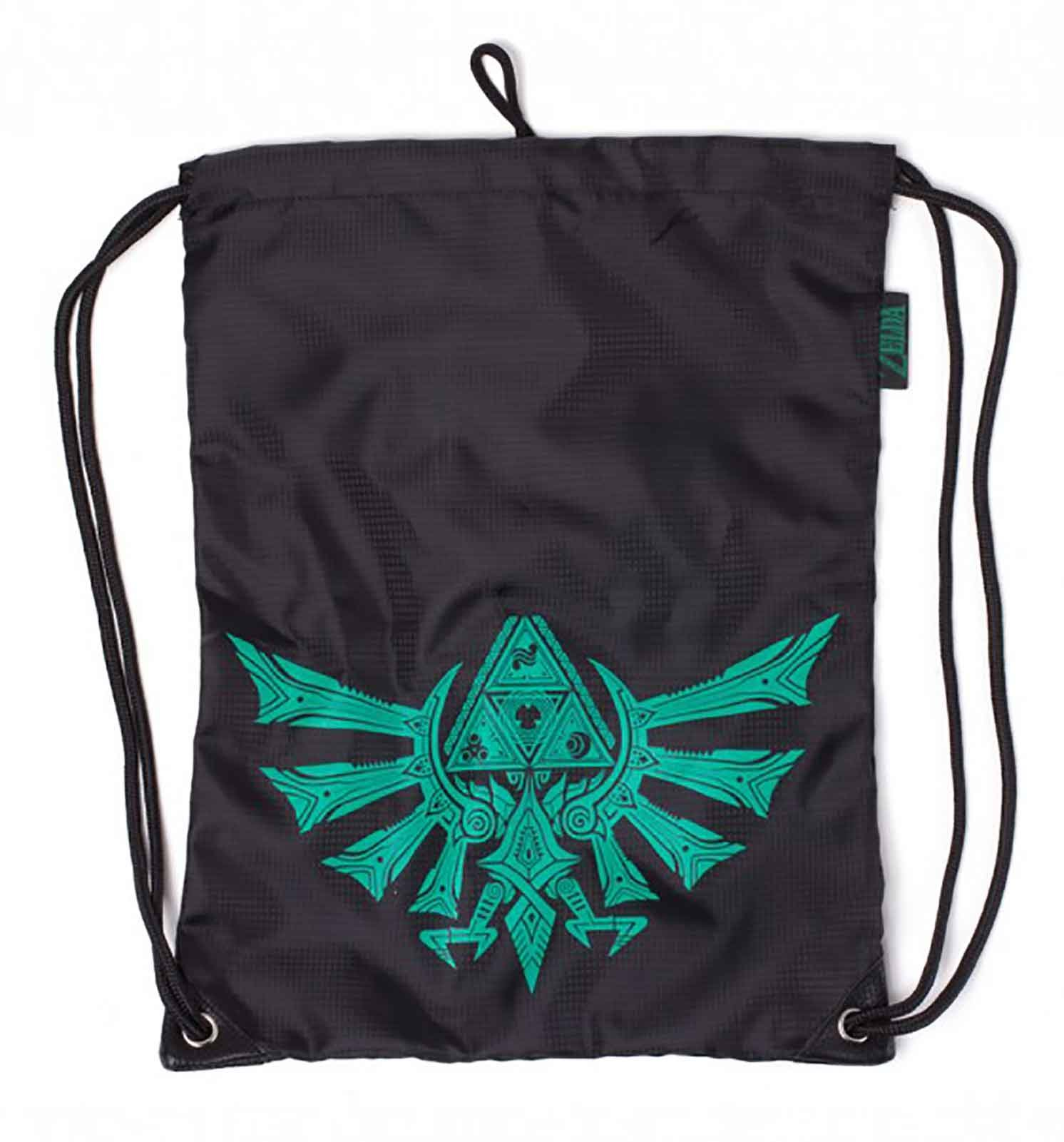 Zelda Gym Bag Zelda Hyrule Crest Rubber Printed Official Nintendo Black