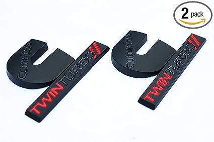 2 Matte Black & Gloss Red Cummins Twin Turbo Diesel Emblems Badges Set 2500 3500