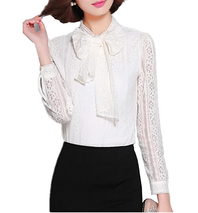 Edwardian Style Blouses  Floral Long Sleeve Bowknot Lace Top Shirt Blouse $22.99 AT vintagedancer.com