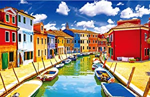 Jigsaw Puzzle 1000 Piece for Adult, Psychedelic Poker Game Challenging Burano Puzzles Intellective Educational Decompression DIY Toy Promotes Hand-Eye Coordination Home Decor