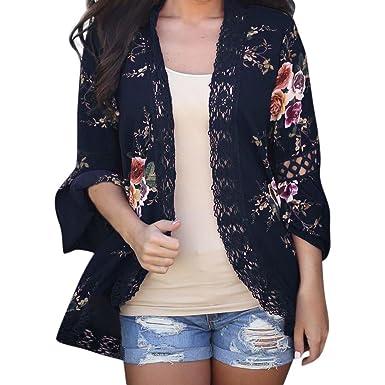 Overdose cordón de Las Mujeres Floral Cabo Abierto Mejor Venta de la Moda Casual Abrigo de impresión de Encaje Blusa Suelta Chaqueta Kimono Chaqueta de ...
