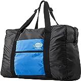サンワダイレクト 折りたたみバッグ 31リットル 旅行 スーツケース 対応 軽量 ブラック×ブルー 200-BAG076BLB