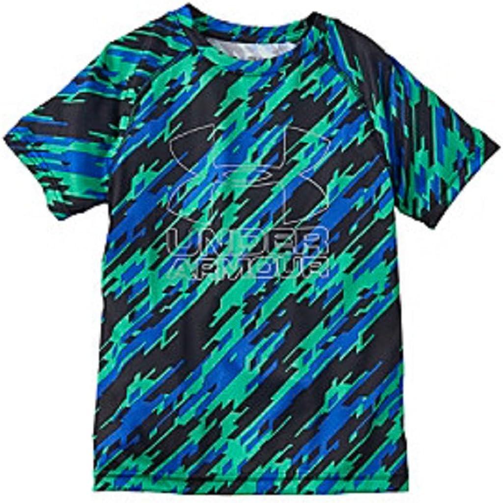 YXL Under Armour Boys Big Logo Hybrid 2.0 Short Sleeve Printed T Vapor Green//Overcast