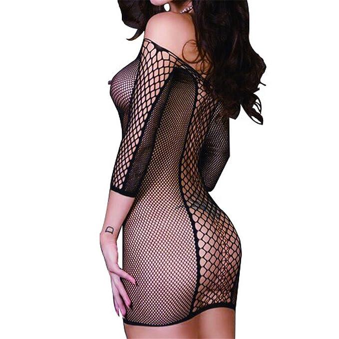 TOGIC Fashion Womens Mesh 3 4 Long Sleeve Lingerie Baby Doll Fishnet Dress  Nightwear Black 2308e09872f