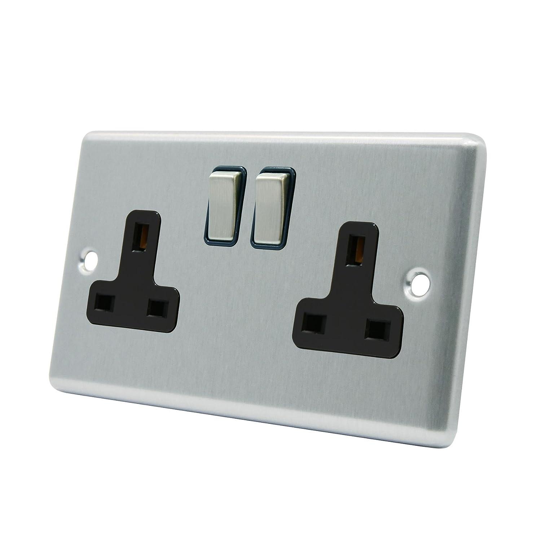 AET CSC2GSOCBS Satin Chrome Classical 2 Gang Black Insert Metal Rocker Switches-13 Amp Double Plug Socket