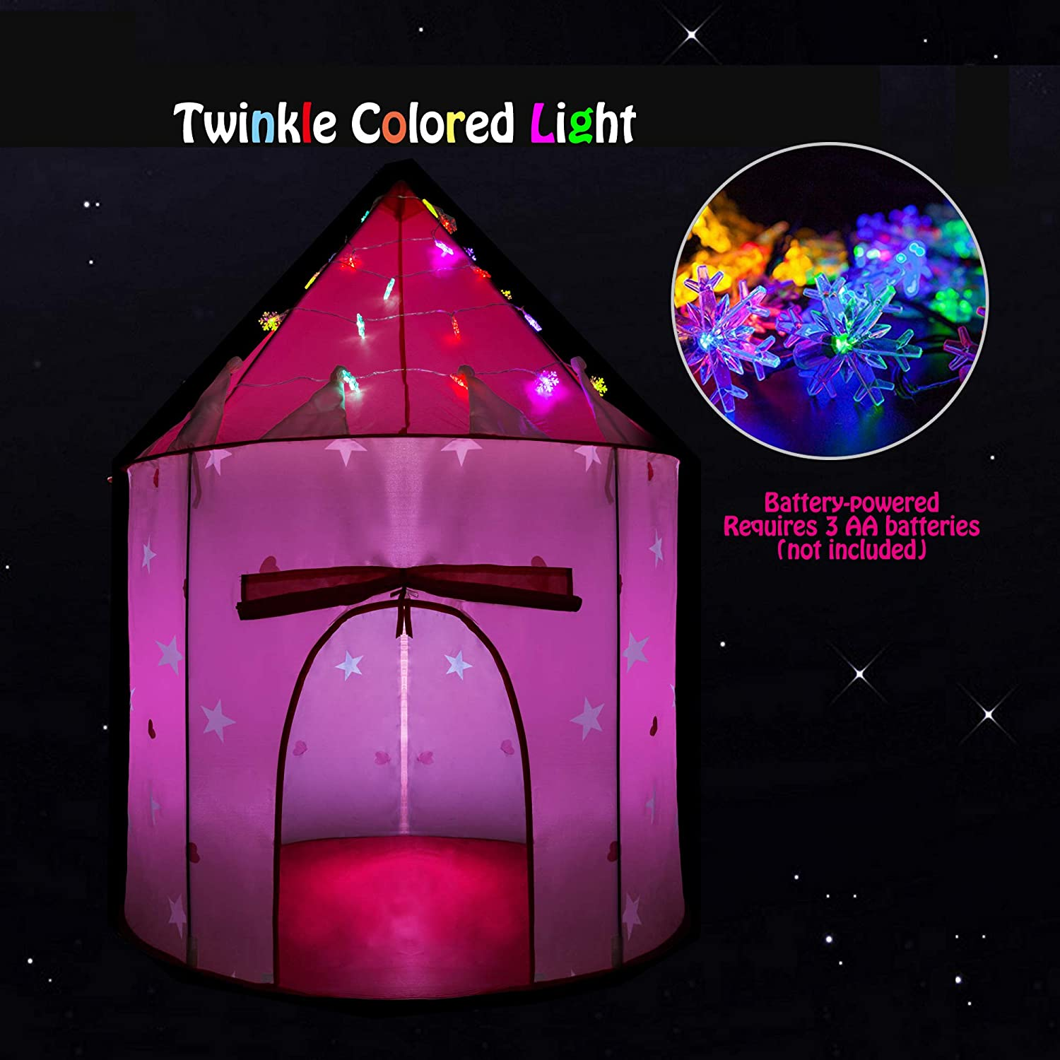 HiDreammy Princess Play Tent Toys Twinkle Colored Lights Kids
