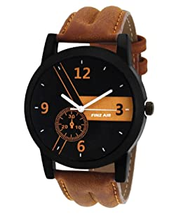 FINZ Men's Metal Analogue Quartz Brown and Black Dial Watch (MEN-WHITE_IIK10)