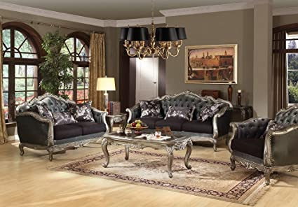 Delicieux Acme 51540 Chantelle French Antique Platinum Sofa Set