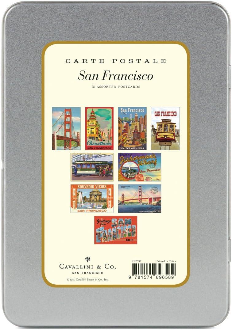 San Francisco 9 Designs//2 Per Design Tin of 18 Postcards Cavallini Carte Postale