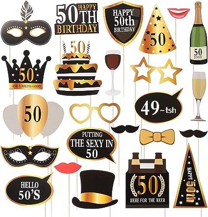 Amosfun 24 Piezas Diy Photocall Atrezzo Divertida Creativa Bigotes Gafas Sombreros Labios Para Fiesta Boda Cumpleaños 50 Aniversario Graduación Amazon Es Hogar