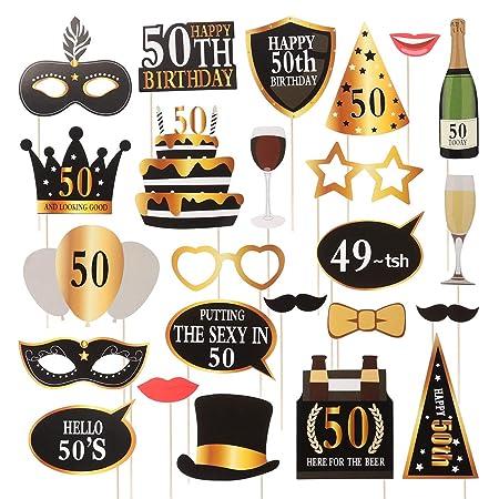 Amosfun 24 Piezas DIY Photocall Atrezzo Divertida Creativa Bigotes Gafas Sombreros Labios para Fiesta Boda Cumpleaños 50 Aniversario Graduación