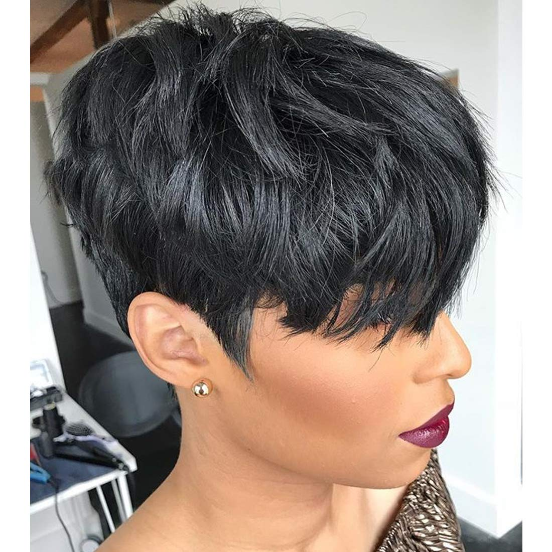 Amazon Com Yviann Human Hair Short Wigs Pixie Cut Wigs With Bangs Short Black Layered Wavy Wigs For Women 1b Color Beauty