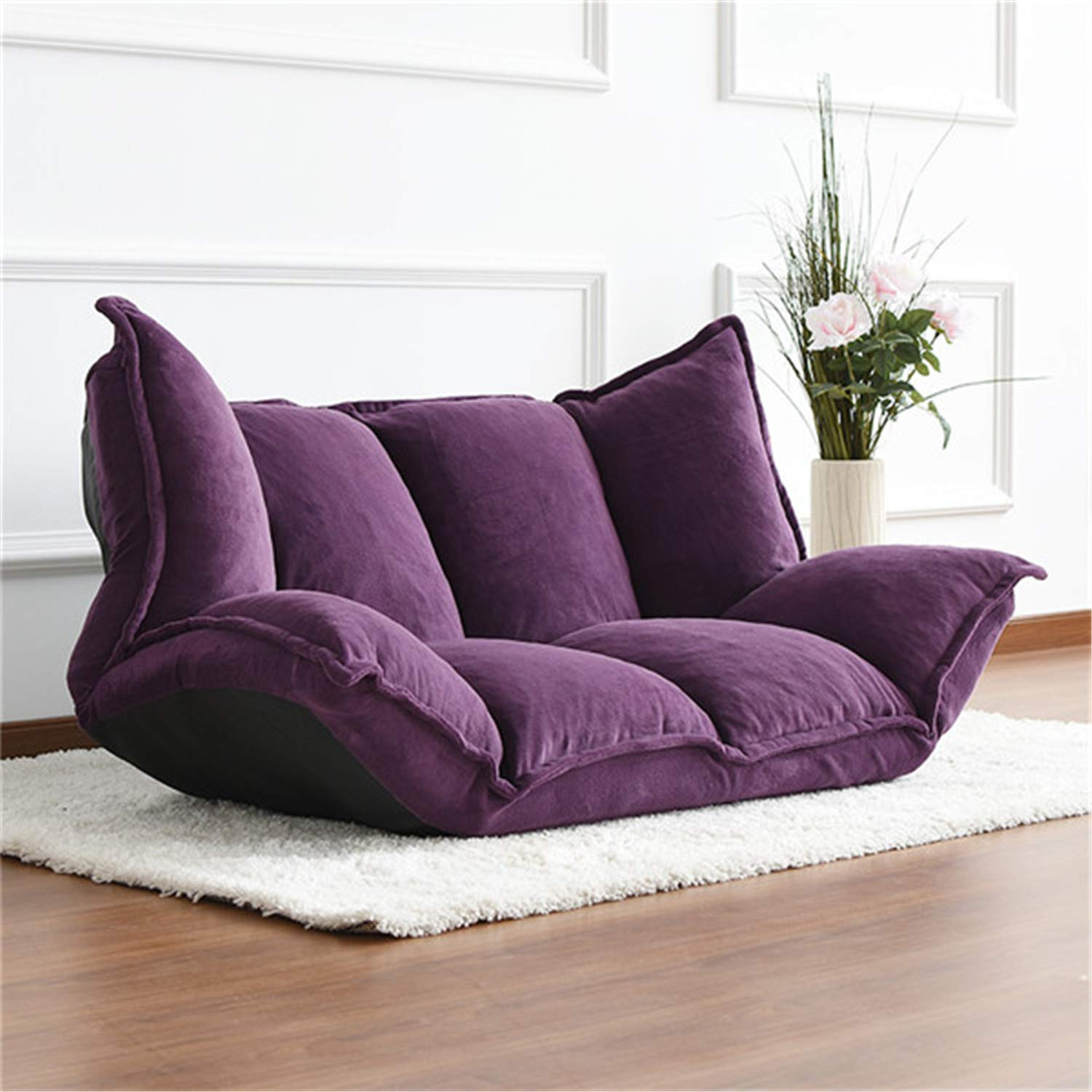 ZZSF Floor Furniture Reclining Japanese Futon Lazy Sofa Bed Modern Folding Adjustable Sleeper Chaise Lounge Recliner Living Room Sofa Indoor Loungers Purple by ZZSF