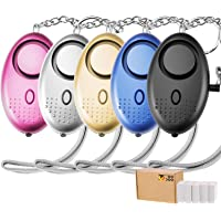 TOODOO 5 Pack 130 db Safesound Personal Security Alarm Keychain Safety Emergency for Women Kids Girls Self Defense Electronic Device as Bag Decoration (Multi-color)