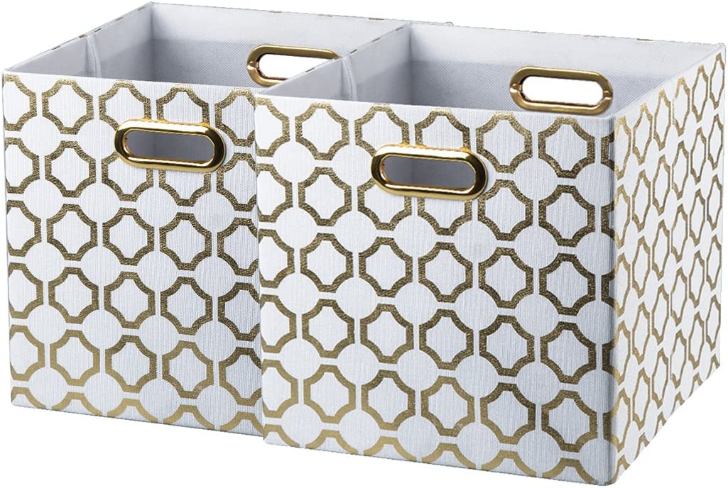 BAIST Gold Cube Storage Bins,Nice Heavy Duty Fabric Decorative Storage Cubes Basket for Nursery Bedroom Office Large Foldable Square (2-Pack, Gold Circle)