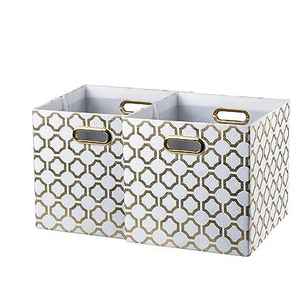 Bon BAIST Gold Cube Storage Bins,Nice Heavy Duty Fabric Decorative Storage Cubes  Basket For Nursery
