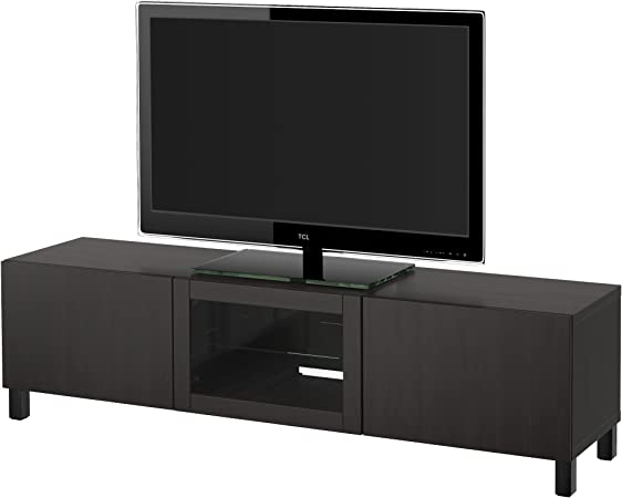 IKEA BESTA - Mueble TV con cajones y puertas de vidrio transparente Lappviken negro-marrón: Amazon.es: Hogar