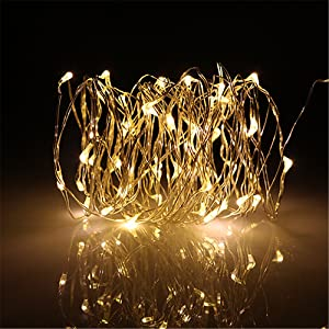 bd9c488139a BUYERTIME 5M 16.4Ft 50 LEDs Cadena de Luces Impermeable Flexible de Alambre  de Plata